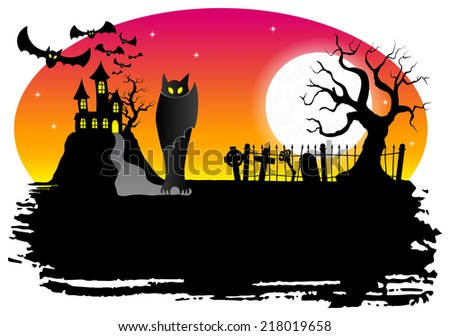 vector illustration of a haunted castle with bats