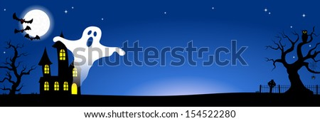 vector illustration of a haunted house in a full moon night  - stock vector