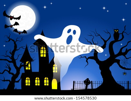 vector illustration of a haunted house in a full moon night