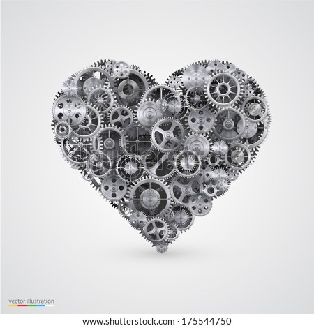 vector Illustration of a heart made with gears. - stock vector