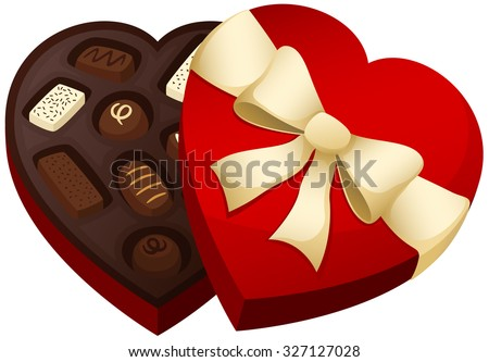 Vector illustration of a heart-shaped box of chocolates.