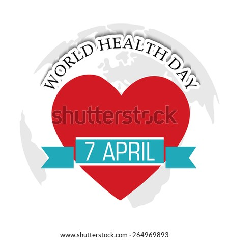 Vector illustration of a heart with blue ribbon for World Health Day in gray background.