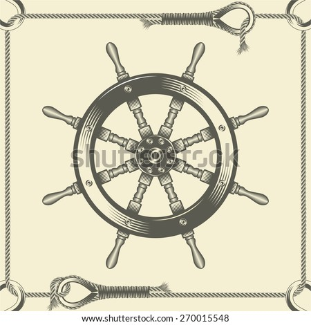 Vector illustration of a helm in rope frame in the old-fashioned style and line-art style. Can be used as a tattoo  / vintage helm frame vector illustration - stock vector