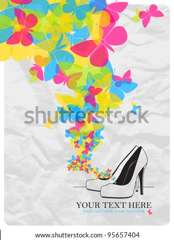 Vector illustration of a high-heeled shoes and butterflies. - stock vector