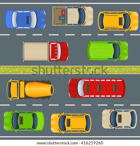 vector illustration of a highway traffic with cars and trucks, aerial view perspective.