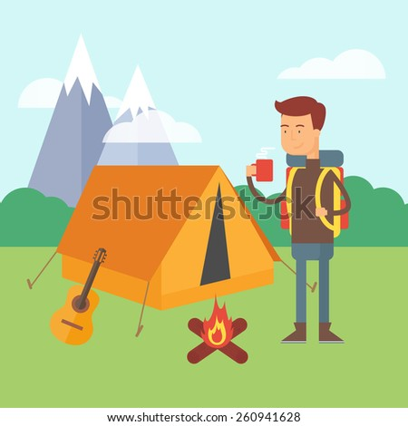 Vector illustration of a hiker standing near the tent in a forest, camping concept  - stock vector