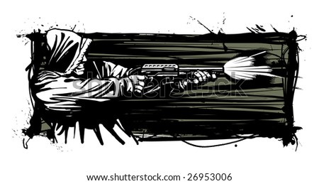 Vector illustration of a hooded gunman firing a shotgun  (profile view of gunman's inside shoulder).