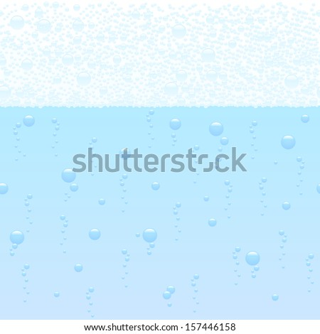 vector illustration of a horizontally seamless bubbling background - stock vector