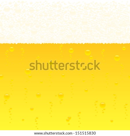 vector illustration of a horizontally seamless bubbling beer background - stock vector