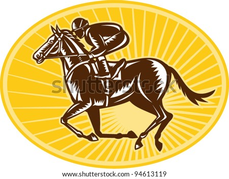 vector Illustration of a horse and equestrian jockey racing viewed from side done in retro woodcut style.