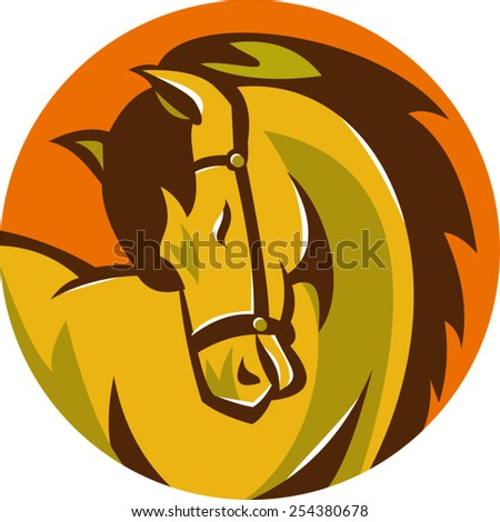 vector illustration of a horse stallion head facing side set inside circle done in retro style. - stock vector