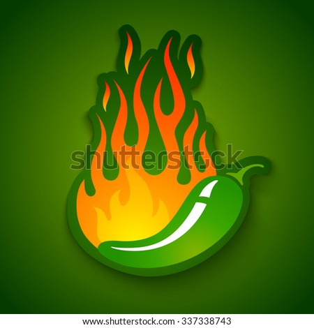 Vector illustration of a hot jalapeno pepper in fire