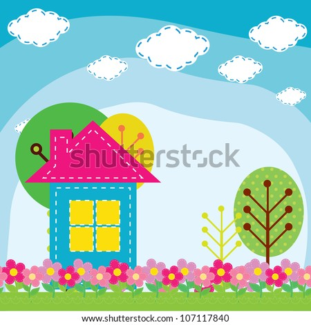 vector illustration of a house in the nature
