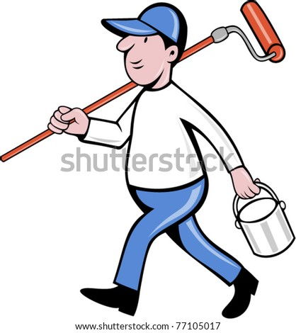 vector illustration of a House painter with paint roller and holding a paint can isolated on white done in cartoon style