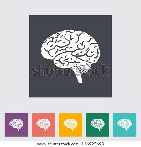 Vector illustration of a human brain. Single flat icon. - stock vector