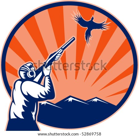 vector illustration of a Hunter aiming shotgun rifle at bird pheasant with mountains and sunburst in background - stock vector