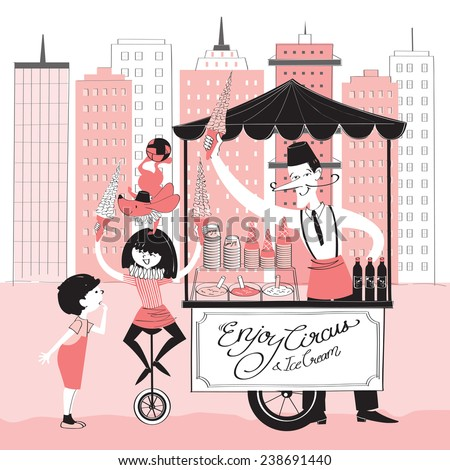 Vector illustration of a ice-cream seller, a circus girl, a dog and a boy with a icecream truck - stock vector