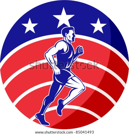 vector illustration of a illustration of a male Marathon road runner jogger fitness training road running with American flag stars and stripes in background inside circle