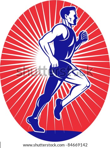 vector illustration of a illustration of a Marathon road runner jogger fitness training viewed from side set inside oval with sunburst in background