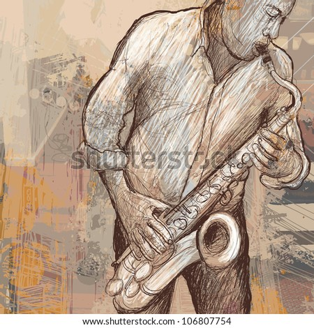Vector illustration of a jazz music saxophonist playing saxophone on grunge background