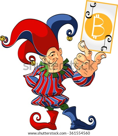 Vector illustration of a Jester holding a wining bitcoin joker card. - stock vector