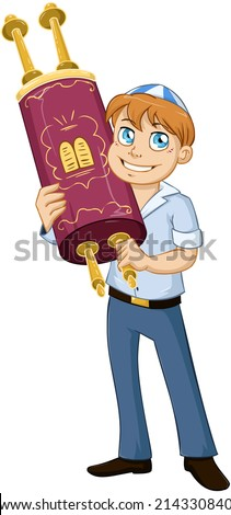 Vector illustration of a jewish boy holds the torah for bar mitzvah  - stock vector