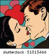 Vector illustration of a kissing couple in a pop art/comic style. - stock