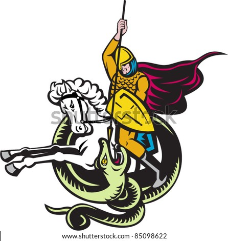 vector illustration of a knight riding horse with shield and spear fighting snake dragon done in retro style on isolated white background - stock vector