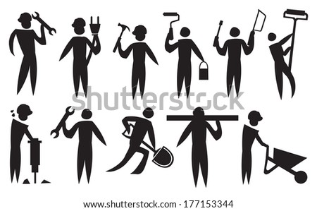 Vector illustration of a labour doing their construction works.