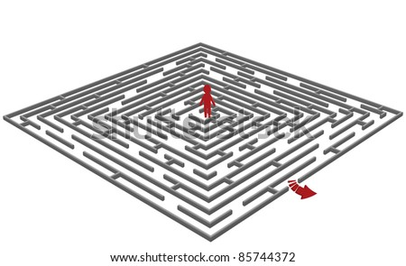 Vector illustration of a  labyrinth/maze with a man in center - stock vector