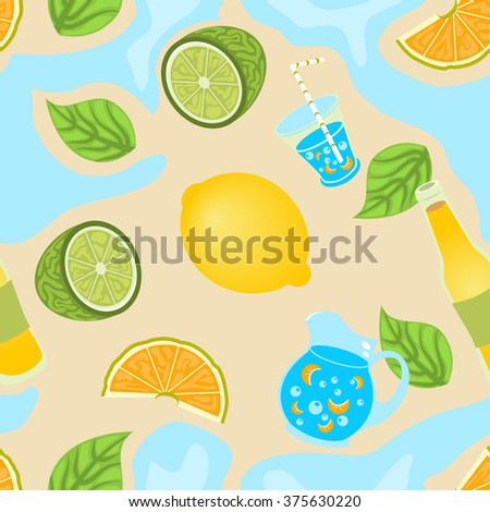 Vector illustration of a lemon and lemonade seamless background pattern. - stock vector