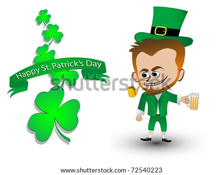 vector illustration of a leprechaun and clover leaf banner