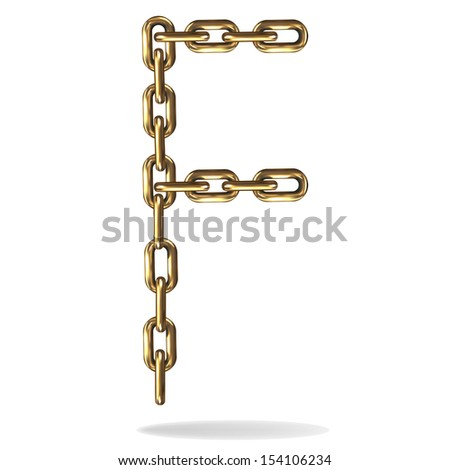 Vector Illustration of a letter F from a gold chain on a white background