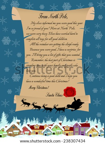 Vector illustration of a letter from Santa Claus on blue - stock vector