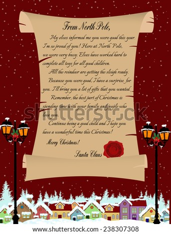 Vector illustration of a letter from Santa Claus on red - stock vector