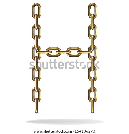 Vector Illustration of a letter H from a gold chain on a white background
