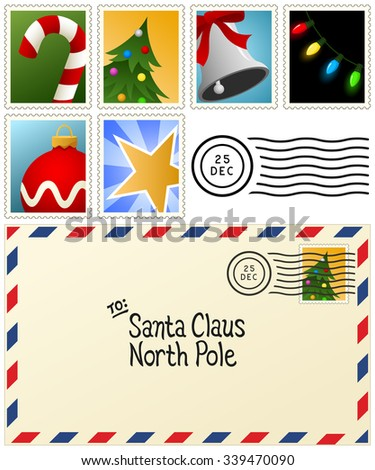 Vector illustration of a letter to Santa Claus, plus six stamps with Christmas-themed holiday designs.