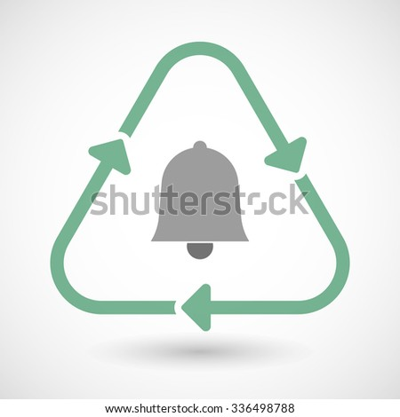 Vector illustration of a line art recycle sign icon with a bell