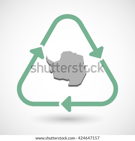 Vector illustration of a line art recycle sign icon with  the map of  Antarctica