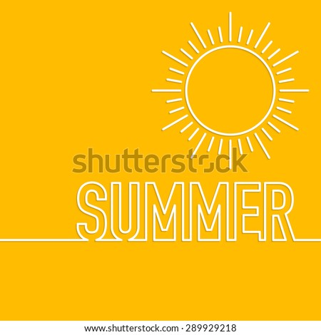 Vector illustration of a linear design summer sun. - stock vector