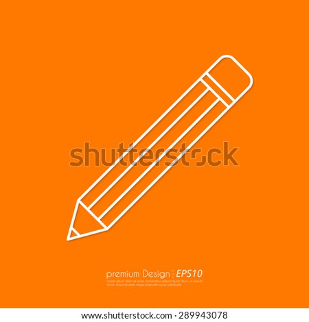 Vector illustration of a linear pencil icon . Flat design. - stock vector