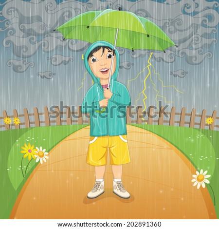 Vector Illustration Of A Little Boy Under Umbrella in Raincoat Standing in the Rain - stock vector