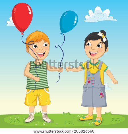 Vector Illustration Of A Little Kid Giving Balloon To His Friend - stock vector