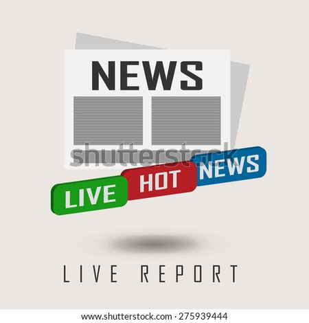 vector illustration of a live report with button live hot news - stock vector