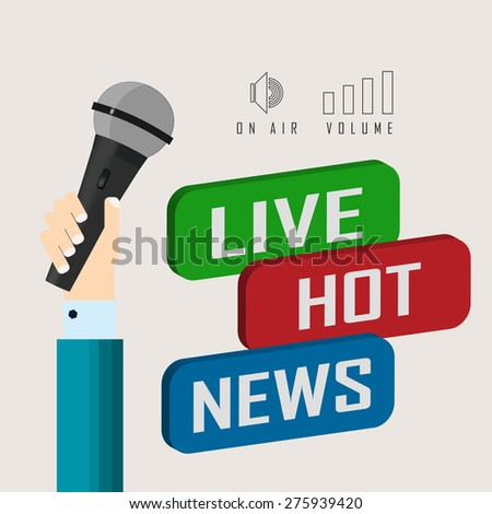 vector illustration of a live report with button live hot news and microphone - stock vector