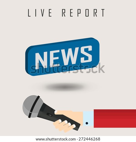 vector illustration of a live report with button news and microphone. eps 10 - stock vector