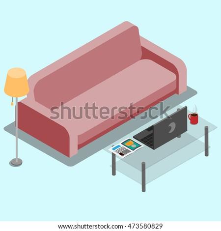 Vector Illustration Living Room 3 D Sofa Stock Vector HD (Royalty ...