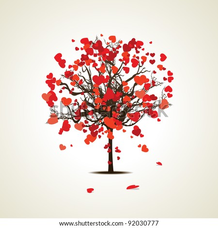 Vector illustration of a love tree having  heart shapes in red and pink color on isolated background for Valentines Day and other occasions. - stock vector
