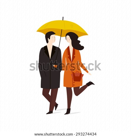 vector illustration of a loving couple under an umbrella in the rain. Cute girl and boy under umbrella. vector illustration of a young couple in coat walks in the rain - stock vector