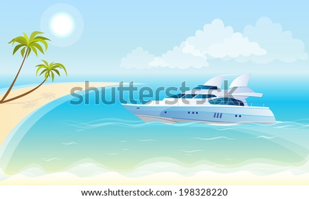 Vector illustration of a luxury yacht on the background of the sea, blue sky, beach and palm trees - stock vector